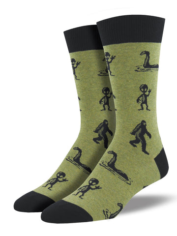 Men's Socks - I'm a Believer Mythical Creatures Olive