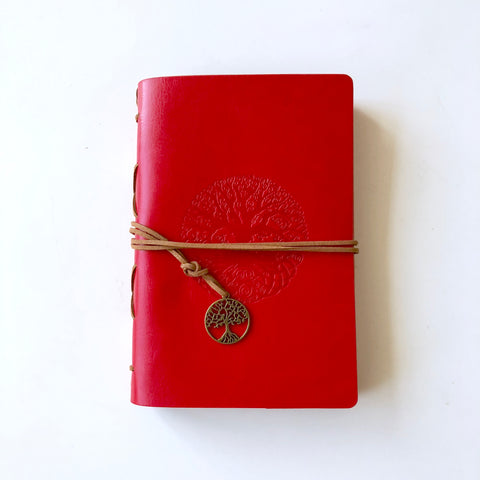 Leather Tree of Life Journal / Grimoire - Red
