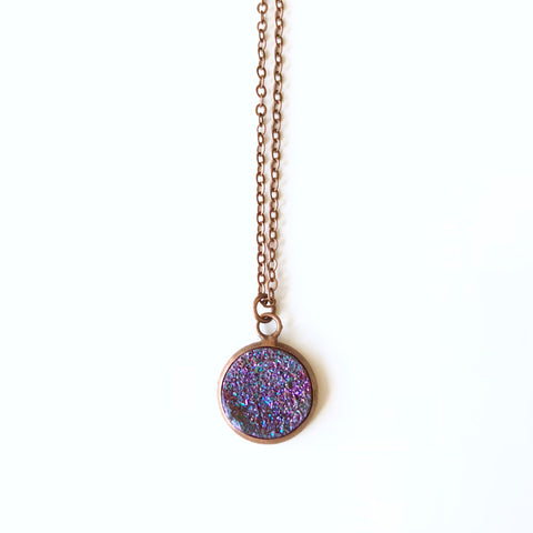 Round Druzy Crystal Pendant - Small