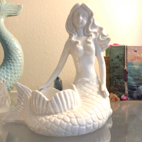 Mermaid Tea Light Holder Statue - White Ceramic