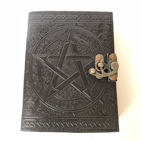 Leather Pentacle Journal / Grimoire with Lock - Black