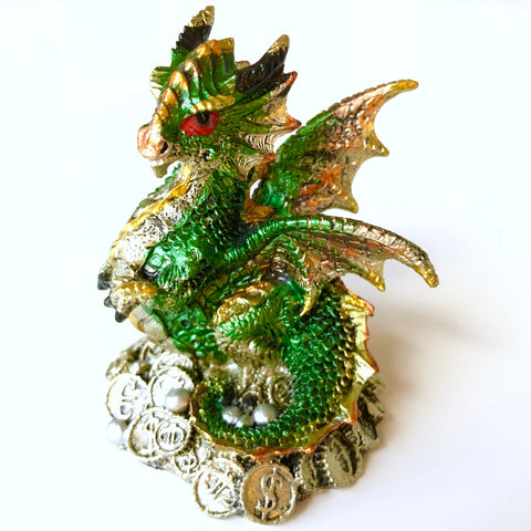 Money Dragon Figurine - Green