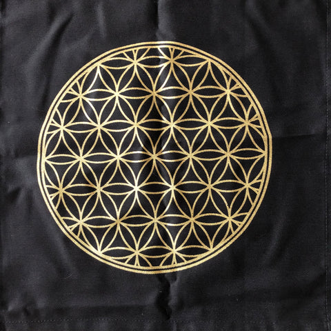 Altar Cloth - Black with Gold Flower of Life