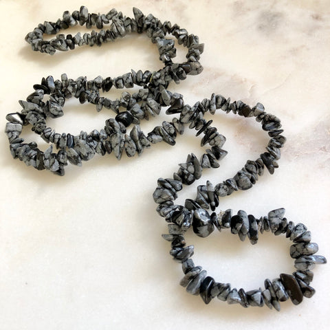 Crystal Healing Gemstone Chip Necklace - Snowflake Obsidian