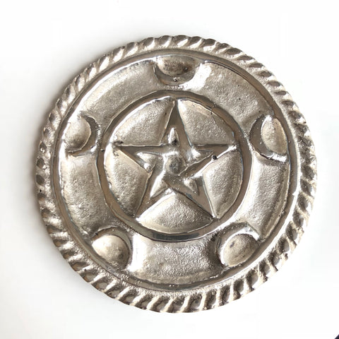 Pentacle Altar Tile - Silver Plated Brass 3""