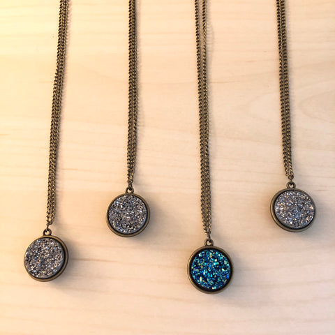 Reversible Necklace - Celestial Star Map with Druzy Crystal