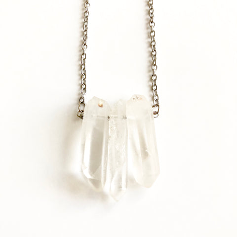 Quartz Crystal Cluster Point Necklace
