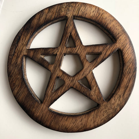 Pentacle Altar Tile - Wood 4""