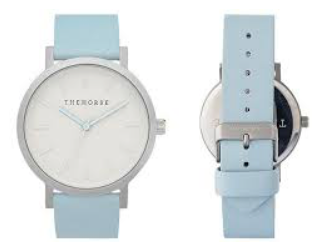 The Horse Watch - brushed silver / powder blue