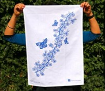 Jo Luping Design - Blue Manuka On White - Tea Towel