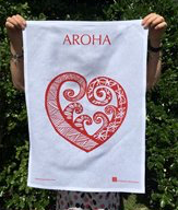 Jo Luping Design - Pacific Aroha On White - Tea Towel