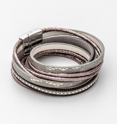 Stella + Gemma - 4 Wrap Double Rose/Grey Bracelet