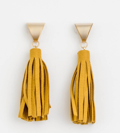 Stella + Gemma - Mustard Suede Triangle Earrings