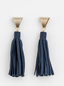 Stella + Gemma - Navy Suede Triangle Earrings