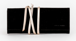 Stella + Gemma - Luxury Velvet Jewellery Roll w/Gold Leather Wrap