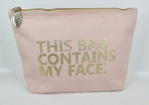 Stella + Gemma - Navy/Gold or Blush Pink/Gold Contains My Face Cosmetic Bag