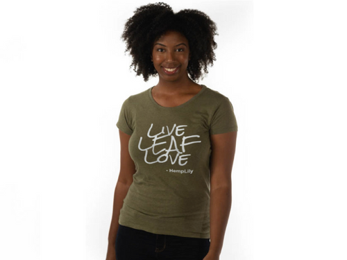 HempLily T-Shirt: Live LEAF Love - Women's - CBD Oil Source