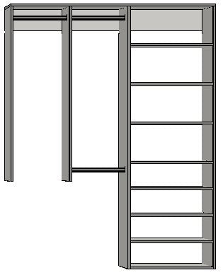 1.9993 | 1250mm-2100mm Open Right Tower 450w with 8 shelves