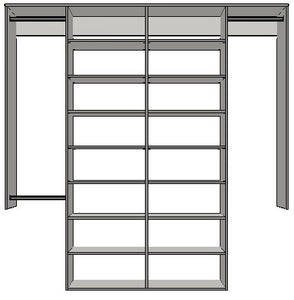 2.5 | 2100 mm-2400mm Double central tower 450w with 16 shelves
