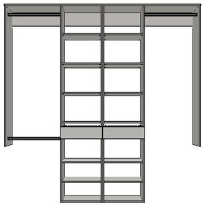 2100mm-2400mm Double central towers 450w 2 drawers with 14 shelves