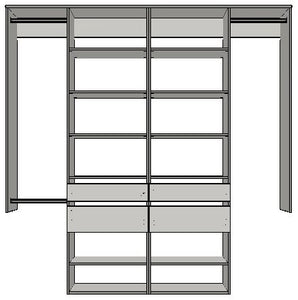 3.2 | 2100mm-2400mm Dble Central towers 600w with 4 drawers 12 shelves