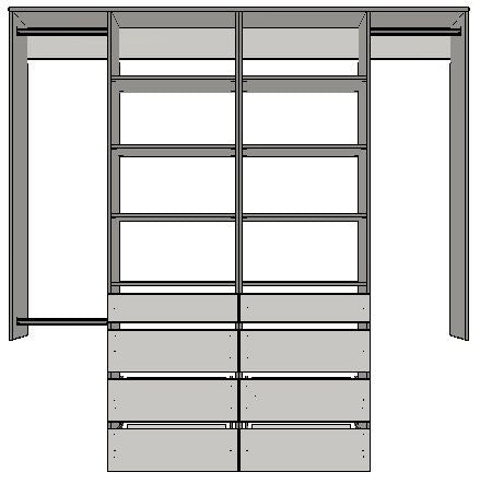 3.4 | 2100mm-2400mm Double Central towers 600w with 8 drawers 12 shelves