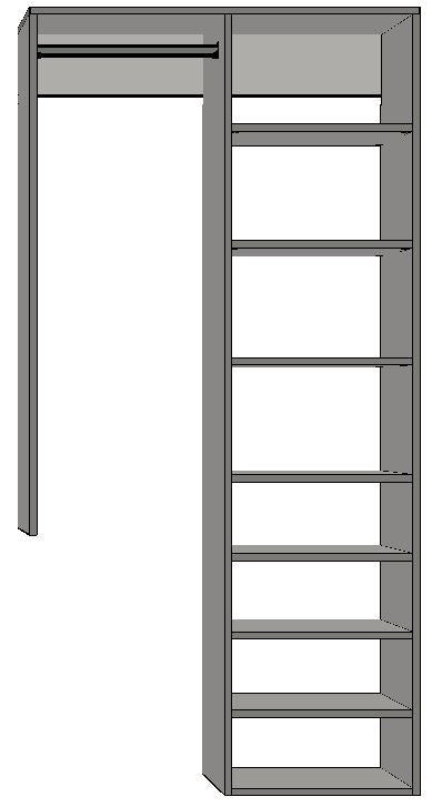 1.5 | 900mm-1200mm Right Tower 450w with 8 shelves