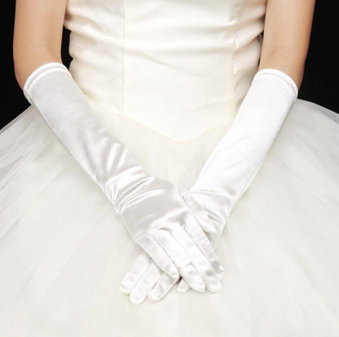 white satin gloves winter wedding bridal accessory