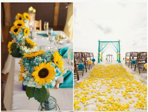 teal yellow color scheme theme wedding
