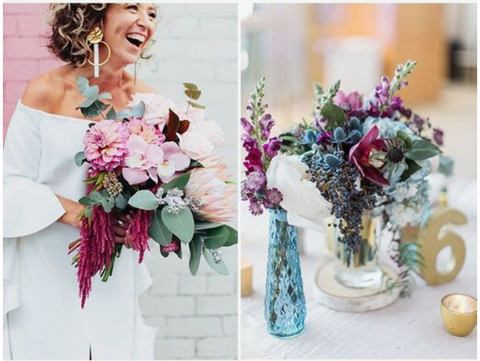 berry pink and ocean blue wedding colors