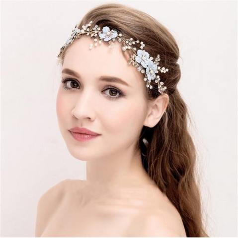 Dusty Blue Boho Wedding Headband