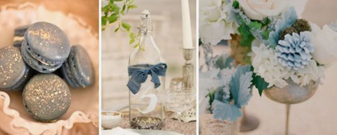 dusty blue gray wedding color scheme theme