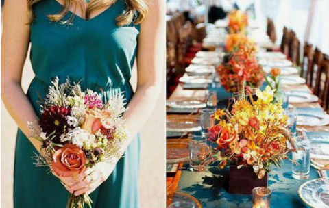 fall autumn teal orange wedding colors scheme theme