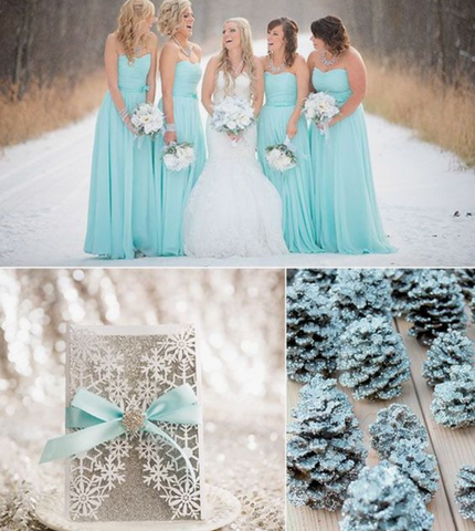 tiffany blue silver winter wedding colors scheme theme