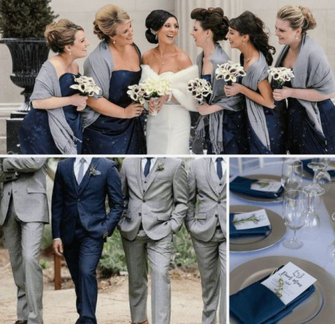 navy gray winter wedding colors scheme theme