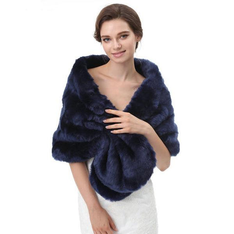 faux fur navy blue dark blue wrap bolero cover-up shawl winter wedding bride bridesmaid accessory