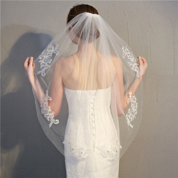 Crystal Embroidered Bridal Veil