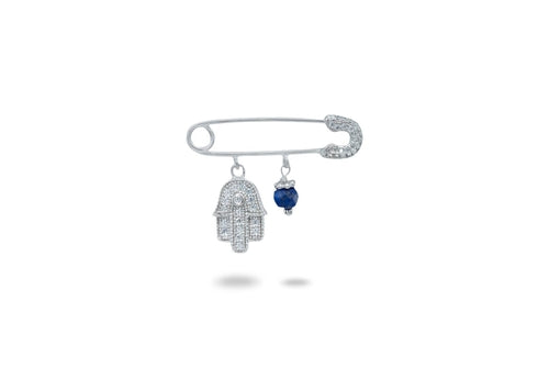 Hamsa & Lapis Safety Pin Brooch