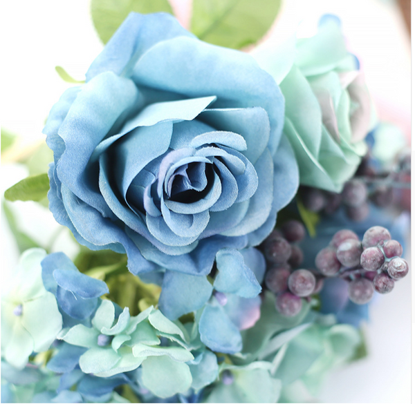 Dusty Blue Silk Rose Flower Arrangement
