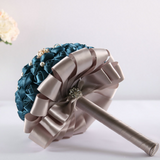 Deep Teal and Champagne Bridal Bouquet