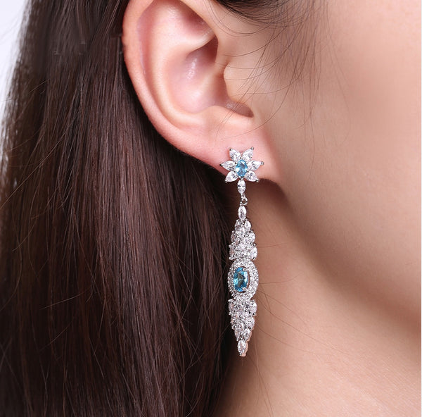 Hanging Icicle Crystal Drop Earrings