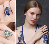 Mystic Blue Rainbow Cocktail Ring