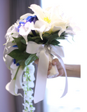 Rose and Calla Lily Waterfall Wedding Bouquet
