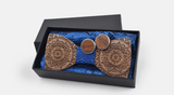 Wooden Mandala Bowtie, Cufflinks and Handkerchief Set