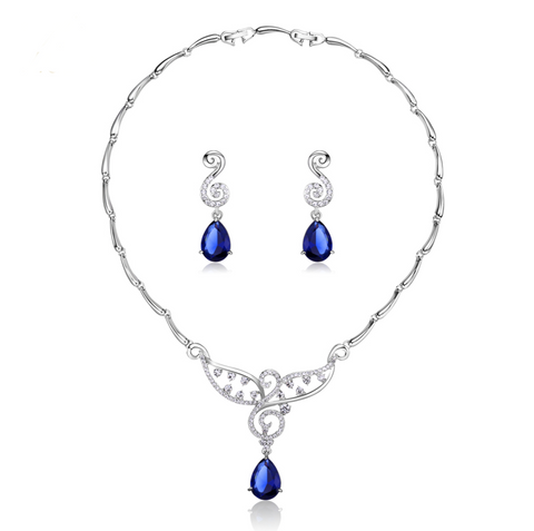 Rhythmic Blues Necklace and Earrings Set