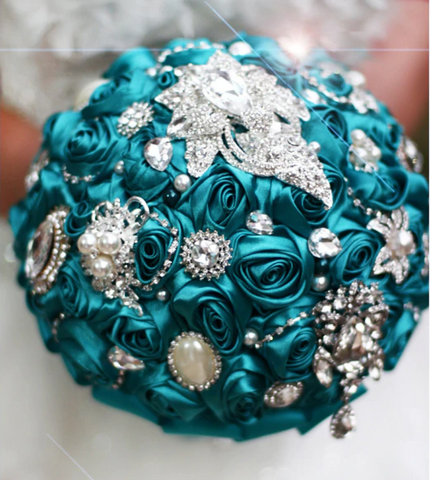 Striking Cyan Bridal Bouquet