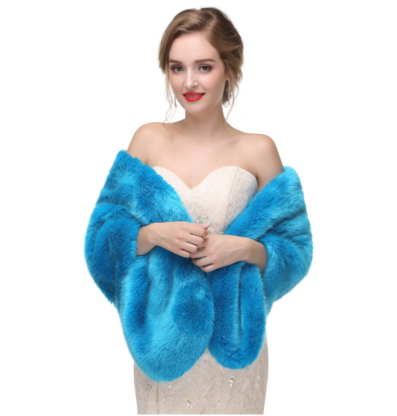 Vibrant Blue Fur Wedding Wrap