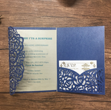 Vintage Blue Laser Cut Invitation Set - Set of 50