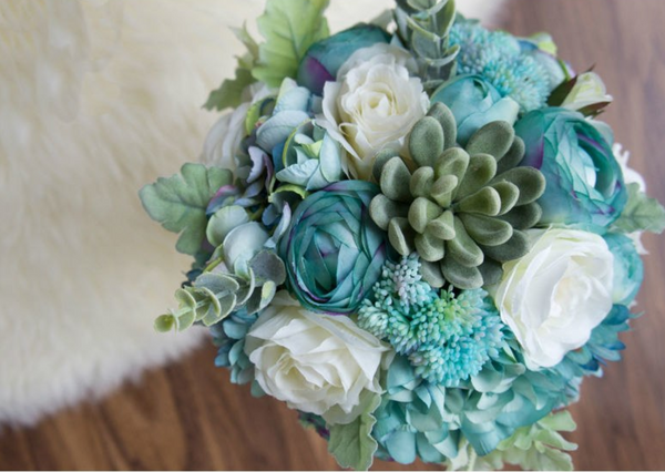 Dusty Blue Silk Rose and Succulent Bouquet