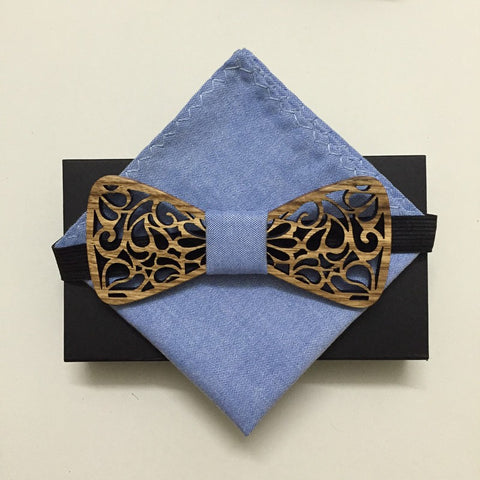 Wooden Bowtie with Denim Pocket Square